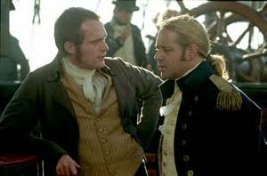 Paul Bettany as Stephen Maturin with Russell Crowe as Captain Jack Aubrey
