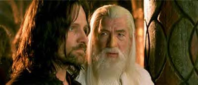 Aragorn and Gandalf, the wonderful Sir Ian McKellan