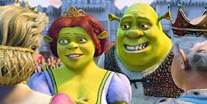 Shrek (Mike Myers) and Princess Fiona (Cameron Diaz)