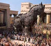 The only character that's supposed to be wooden: the Trojan horse