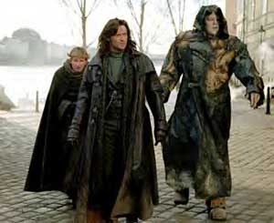 Karl, Van Helsing and Frankenstein's monster step out in Prague, which plays Budapest in the movie, and is about the only real setting in the whole film. Geographers will note that Budapest is not on the coast though. Tricky one, that.
