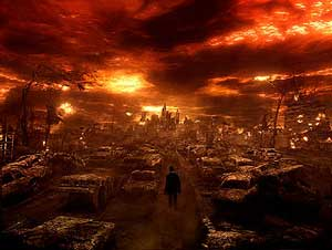 A vision of hell... Constantine walks through the inferno