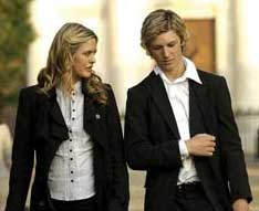 Alicia Silverstone as Jack and Alex Pettyfer as Alex Rider in Stormbreaker