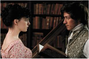 Anne Hathaway as Jane Austen and James McAvoy as Tom Lefroy in Becoming Jane