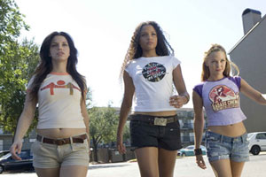 Vanessa Ferlito, Sydney Poitier and Jordan Ladd are the first set of girls in Quentin Tarantino's Death Proof