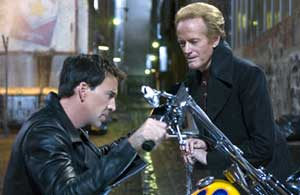 Nicolas Cage as Johnny Blaze and Peter Fonda as Mephistopheles in Ghost Rider