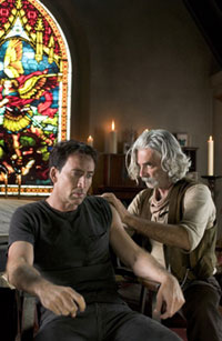 Nicolas Cage as Johnny Blaze and Sam Elliot as the Caretaker in Ghost Rider