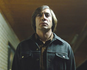 Javier Bardem as psychopathic hitman Anton Chigurh in No Country For Old Men