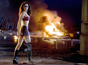 Rose McGowan as Cherry Darling, with the infamous machine gun leg