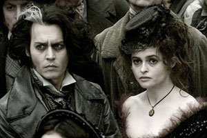 Johnny Depp as Sweeney Todd and Helena Bonham Carter as Mrs Lovett