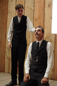 Paul Dano as Eli Sunday and Daniel Day-Lewis as Daniel Plainview in There Will Be Blood