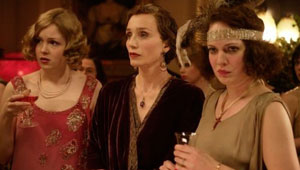 Kristin Scott Thomas (centre) as the formidable Mrs Whittaker in Easy Virtue