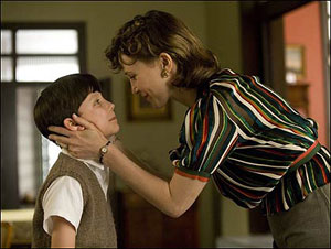 Asa Butterfield and Vera Farmiga in The Boy in the Striped Pyjamas