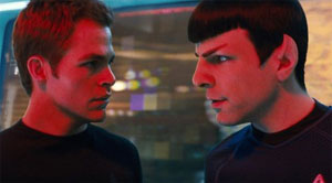 Zachary Quinto as Spock and Chris Pine as Kirk in the new Star Trek