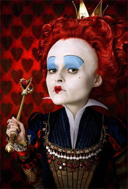 Helena Bonham Carter as the Queen of Hearts in Tim Burton's Alice in Wonderland