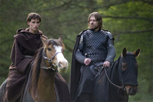 Sean Bean as Ulric and Eddie Redmayne as Osmund in Black Death