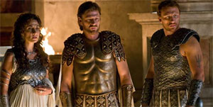 Melina Kanakaredes, Sean Bean and Kevin McKidd as the Greek gods Athena, Zeus and Poseidon in Percy Jackson and the Lightning Thief