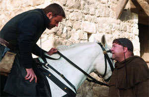 Russell Crowe as Robin Hood and Mark Addy as Friar Tuck