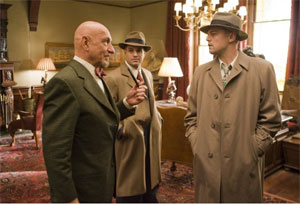 Ben Kingsley as Dr Cawley, Mark Ruffalo as Chuck Aule and Leonardo DiCaprio as Teddy Daniels in Shutter Island
