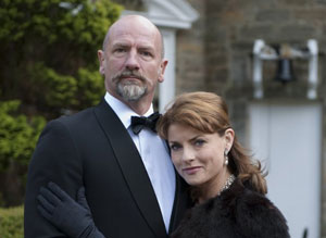 Graham McTavish and Jacqueline Leonard as Sir Lachlan Morrison and Lady Delia in Robin Hardy's The Wicker Tree