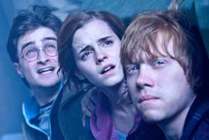 Harry (Daniel Radcliffe), Hermione (Emma Watson) and Ron (Rupert Grint)
