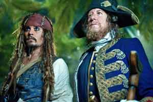 Johnny Depp and Geoffrey Rush return as Captain Jack Sparrow and Captain Barbossa in Pirates of the Caribbean: On Stranger Tides