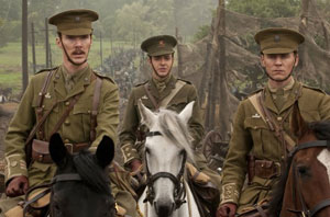 Benedict Cumberbatch and Tom Hiddleston in War Horse. Joey's on the right.