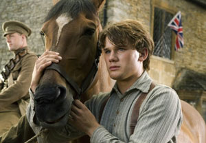 Joey the horse with Albert (Jeremy Irvine)