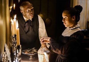 Samuel L Jackson as Stephen and Kerry Washington as Broomhilda in Django Unchained
