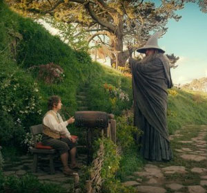 Martin Freeman as Bilbo Baggins and Ian McKellan as Gandalf in The Hobbit: An Unexpected Journey