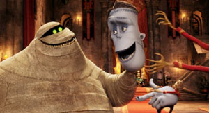 The Mummy (CeeLo Green) and Frankenstein (Kevin James) in Hotel Transylvania