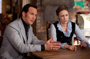 Patrick Wilson and Vera Farmiga as Ed and Lorraine Warren in The Conjuring