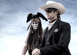 Johnny Depp as Tonto and Arnie Hammer as John Reid in The Lone Ranger