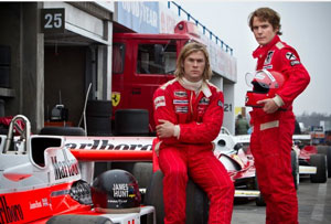 Chris Hemsworth as James Hunt and Daniel Brühl as Niki Lauda in Ron Howard's Rush