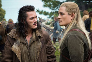 Luke Evans as Bard and Orlando Bloom as Legolas