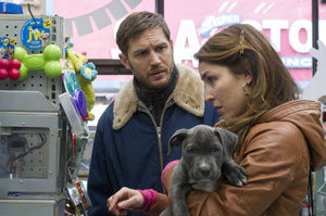Tom Hardy and Noomi Rapace with Rocco the pup in The Drop