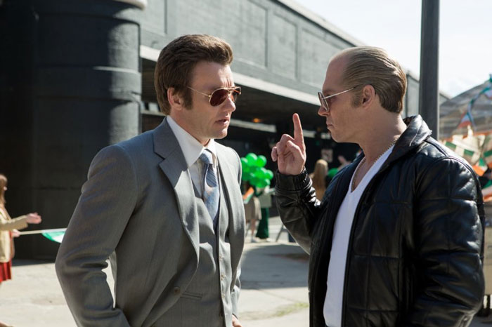 Joel Edgerton as John Connolly and Johnny Depp as James Bulger in Black Mass