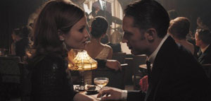 Emily Browning as Frances and Tom Hardy as Reggie Kray in Legend