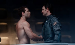 Jai Courtenay as Kyle Reese and Jason Clarke as John Connor in Terminator Genisys