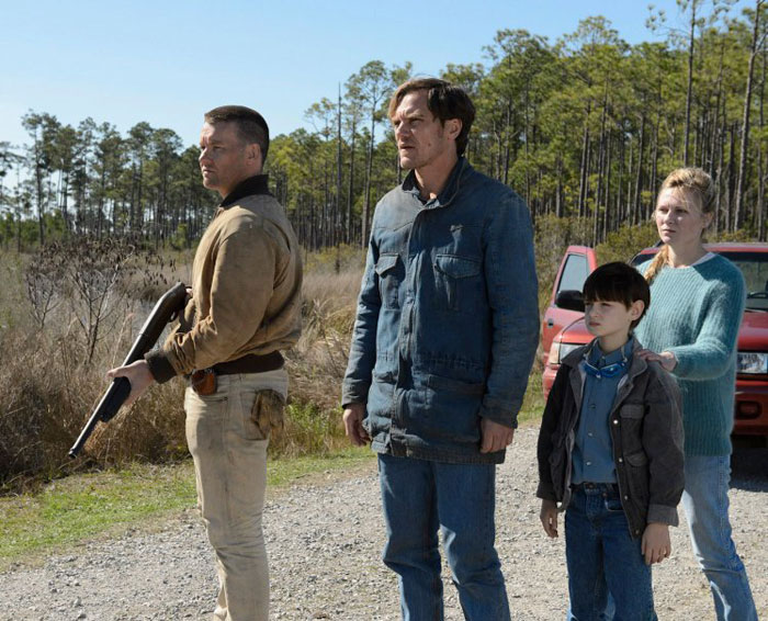 Joel Edgerton, Michael Shannon, Kirsten Dunst and Jaeden Lieberher in Midnight Speical