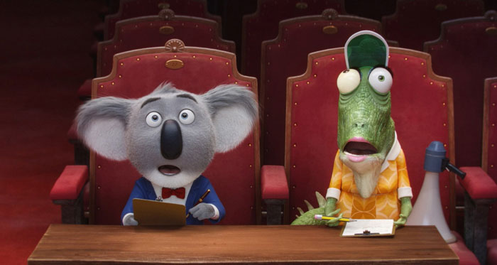 Buster Moon (Matthew McConaughey) and Miss Crawley (Garth Jennings) in Sing