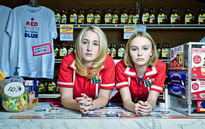 Harley Quinn Smith and Lily-Rose Depp as Colleen and Colleen in Yoga Hosers