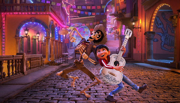 Héctor (voiced by Gael García Bernal) and Miguel (voiced by Anthony Gonzalez) in Coco