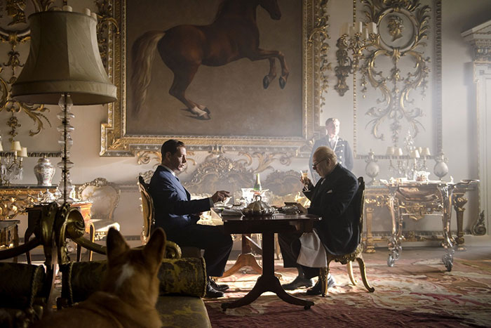 Spot the corgi: Ben Mendelsohn as King George VI and Gary Oldman as Winston Churchill in Darkest Hour