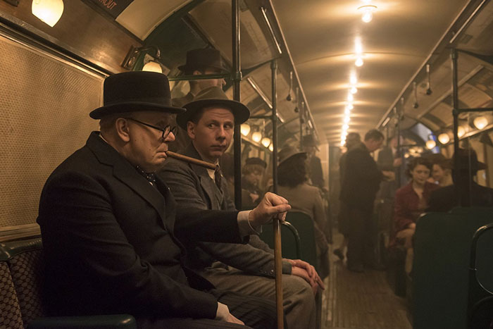 Gary Oldman as Winston Churchill takes a ride on the tube