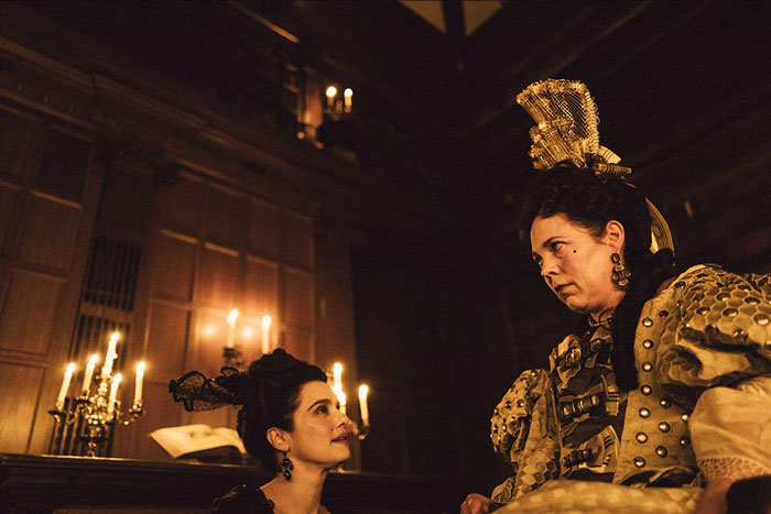 Rachel Weisz as Lady Marlborough and Olivia Colman as Queen Anne in The Favourite