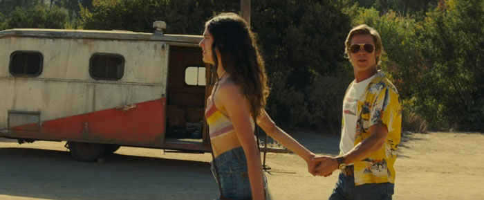 Brad Pitt and Margaret Qualley in Once Upon A Time... In Hollywood