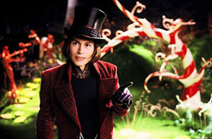Johnny Depp as Willy Wonka in Tim Burton's Charlie and the Chocolate Factory
