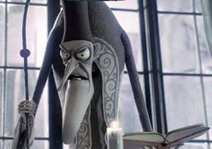 Christopher Lee voices the terrifying Pastor Gallswell in Tim Burton's  Corpse Bride
