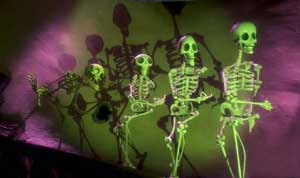 Tim Burton movie or Alice Cooper show? The dancing skeletons perform.